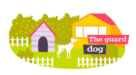 Family guard dog in outdoor kennel protecting home garden owners property flat oval composition vector illustration