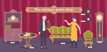 Antique pawnshop customers looking  for furniture vinyl records clock  valuable collectible interior objects flat banner vector illustration