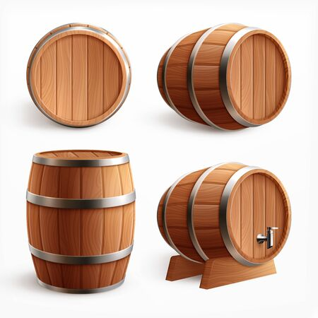 Wooden barrels realistic set with four isolated images of oak casks with timber body and faucet vector illustration Ilustração Vetorial