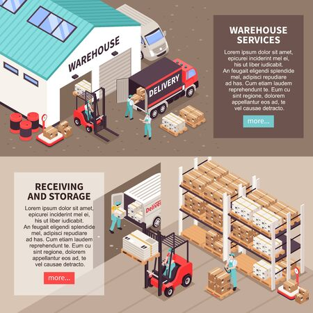 Logistic horizontal banners with warehouse services receiving and storage isometric compositions vector illustration