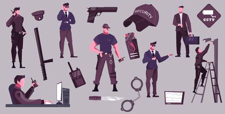 Security service flat set of male characters performing their official duties isolated vector illustration
