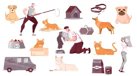 Homeless animals set of flat isolated images with pets characters of catchers with transport and equipment vector illustration 向量圖像