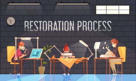 Artist restorer composition with three persons three people in the office are working on the restoration of various things books shoes vector illustration
