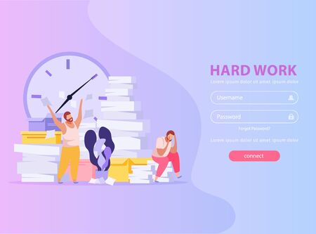 People tired from hard work with piles of papers flat background with login form vector illustration Ilustração