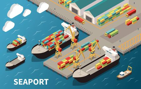 Seaport terminal isometric composition with loading unloading container vessels cargo carriers cranes freight transport warehouse vector illustration