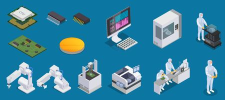 Semiconductor chip production isometric set with isolated icons of microprocessors production facilities and characters of workers vector illustation