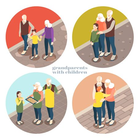 Grandparents with children 2x2 design concept with old people playing chess walking  communicated with their grandchildren isometric vector illustration