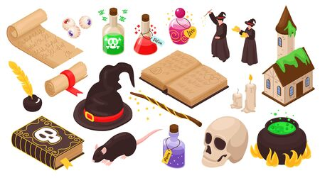 Magical set of magicians stuff for witchcraft magic potion ancient manuscripts skull isolated icons isometric vector illustration Vecteurs