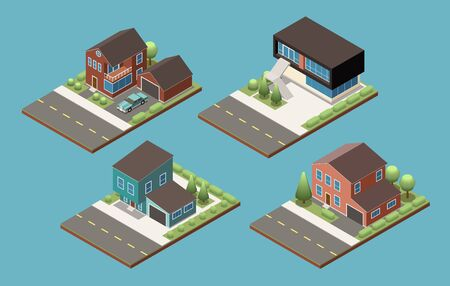 Four various project of suburban private two floors cottage with annex for garage isometric vector illustration