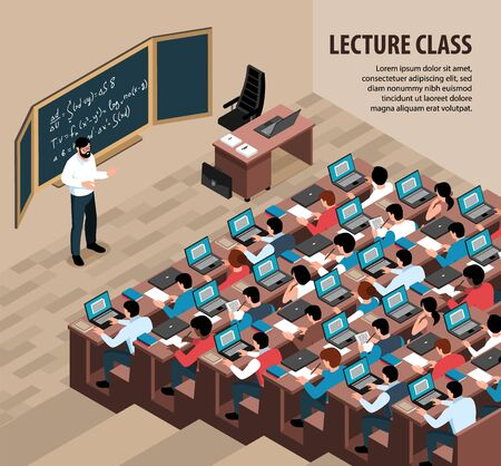Isometric lecture class background with indoor scenery professor in front of blackboard and students with laptops vector illustration