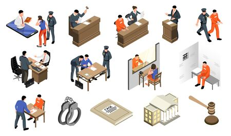 Isometric lawyer law prison set of isolated icons with characters of attorneys policemen and imprisoned persons vector illustration