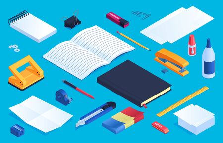 Office and school stationery elements set with glue sharpener and eraser isometric isolated vector illustration