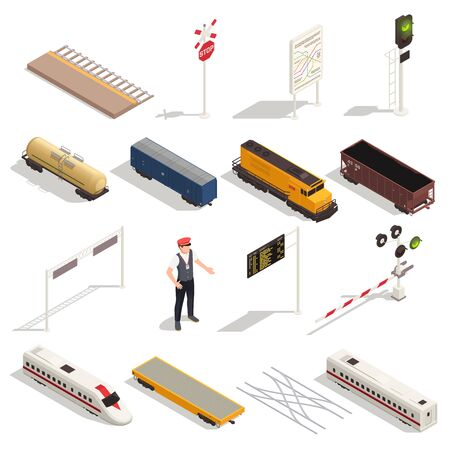 Train railway station isometric set with isolated icons of carriages locomotives and elements of rail infrastructure vector illustration