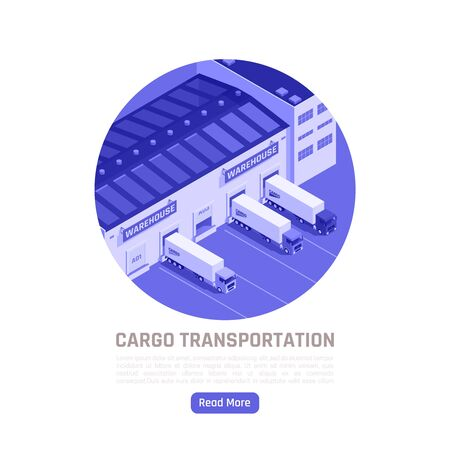 Cargo transportation isometric round background with trucks leaving warehouse for delivery goods vector illustration