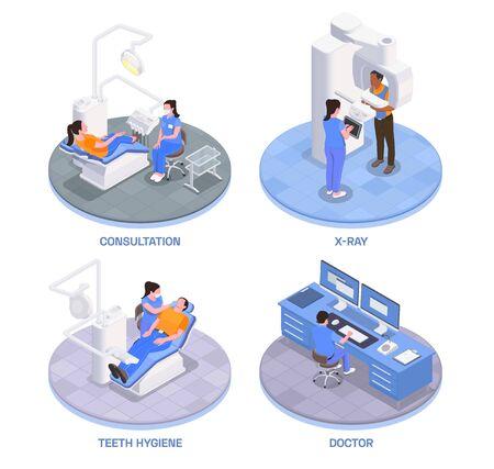 Stomatology clinic concept isometric icons set with teeth hygiene symbols isolated vector illustration
