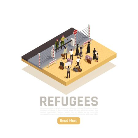 Refugees isometric composition with  immigrants and policemen standing on different sides of state border vector illustration 向量圖像