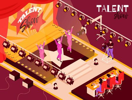Talent show dance group contestants in pink performing onstage in spotlights before judges isometric composition vector illustration