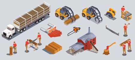 Set with isolated sawmill timber mill lumberjack isometric icons of wood tools vehicles and human characters vector illustration