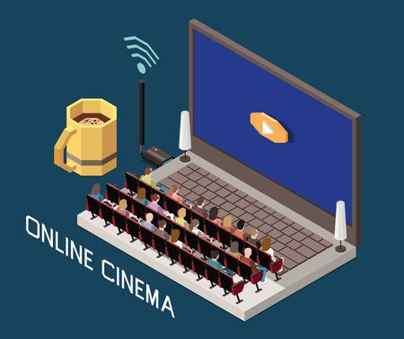 Cinema isometric composition with image of laptop with theater auditorium and people on seats with text vector illustration Ilustração
