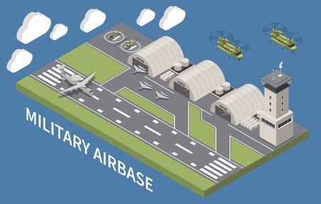 Military airbase airfield aerodrome facility with hangars traffic control tower landing aircraft flying helicopters isometric vector illustration