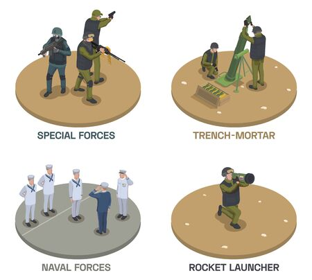 Army weapons soldier isometric compositions set with text and human characters of armed people with guns vector illustration