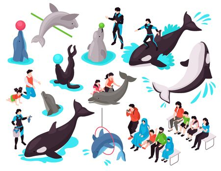 Show in dolphinarium isometric set with adult and child characters looking at seal dolphin orca performing exercises isolated vector illustration Ilustração