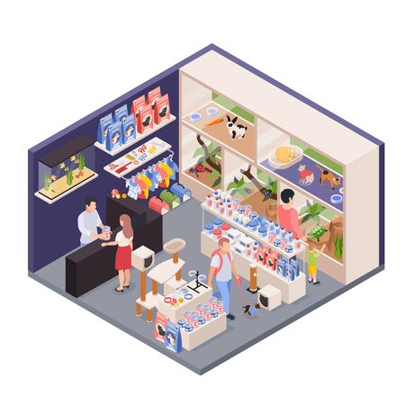 Exotic pet shop assistant behind counter isometric interior view with animals enclosures food accessories customers vector illustration