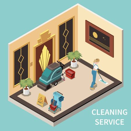 Professional janitorial service employee in uniform cleaning floor in public government building foyer isometric composition vector illustration Stock Illustratie