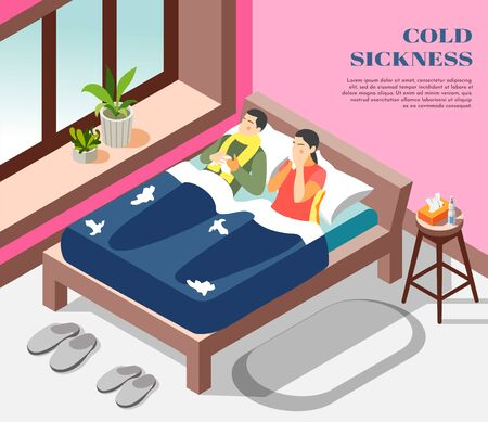 Cold sickness flu treatment isometric composition with suffering from influenza running nose couple in bed vector illustration