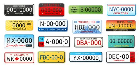 Realistic car number plate set with isolated images of license plates of various design and state vector illustration 向量圖像