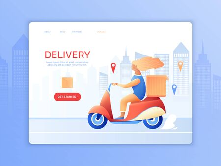 Courier delivery landing page with female character riding moped on city road to bring order vector illustration 向量圖像