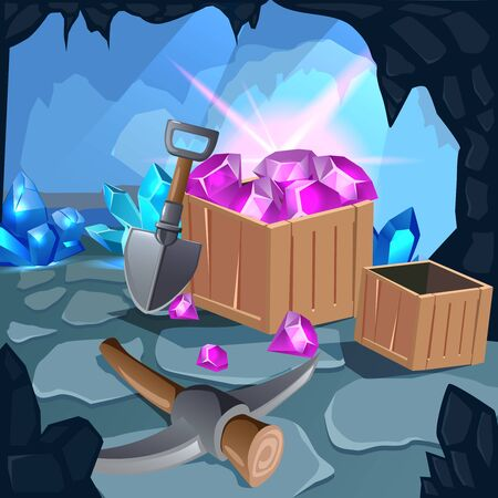 Cartoon mining game design composition with different mining equipment inside the cave vector illustration