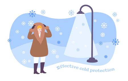 Fur coat concept with effective cold protection symbols flat vector illustration