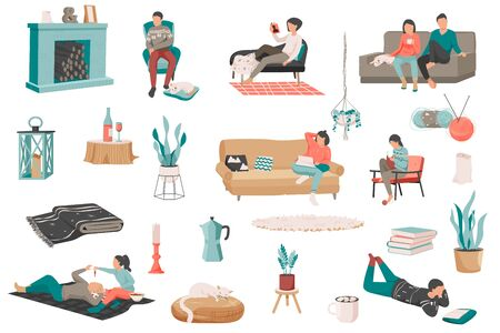 Hygge lifestyle flat recolor set with isolated icons of house plants books soft furniture and people vector illustration 向量圖像