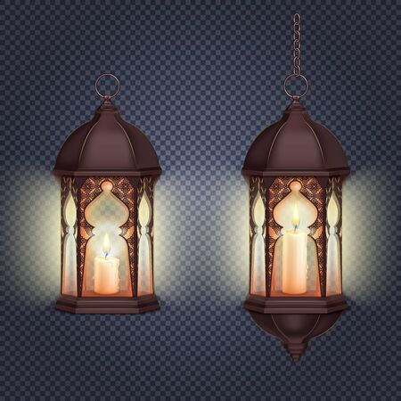 Ramadan kareem lantern realistic composition on transparent background with isolated images of lanterns hanging on chain vector illustration