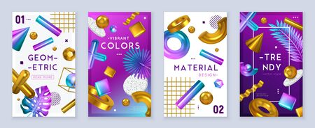 Geometric shapes vibrant colors trendy decorative objects 4 realistic banners set with foil leaves feathers vector illustration