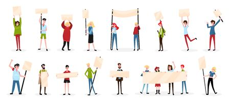 Protesting people activist sign board set with isolated characters of protesters with empty placards and shadows vector illustration Vector Illustratie