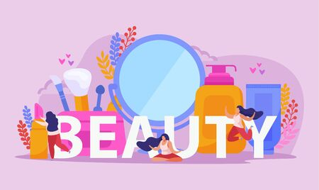 Beauty salon flat composition with big headline two girls and big abstract beauty tools vector illustration