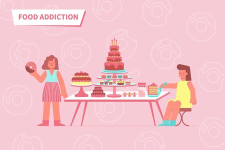Food addiction love composition with text and flat images of table full of sweets with people vector illustration
