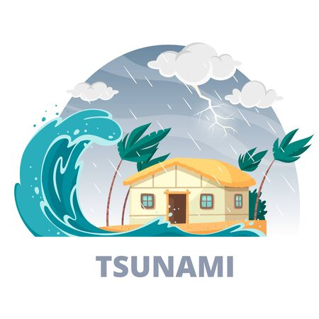 Natural disaster cartoon circle composition with rainy sky and impending storm and tsunami wave with house vector illustration 向量圖像