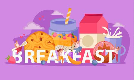 People with breakfast flat concept big abstract word and human sits on it with big spoon vector illustration