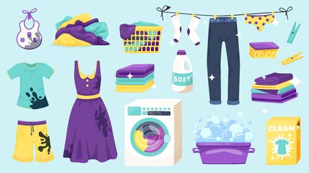 Laundry set of isolated icons and colourful goods images with hanging drying clothes and washing machine vector illustration Illustration