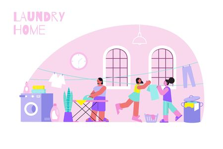 Laundry home concept with washing and ironing symbols flat vector illustration