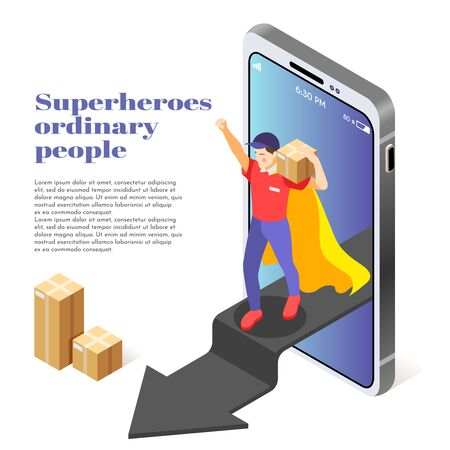 Ordinary people as superheroes isometric composition with courier service man delivering package stepping out smartphone vector illustration