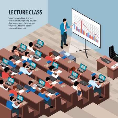 Isometric professor lecture class background with editable text and indoor view of classroom with desk rows vector illustration
