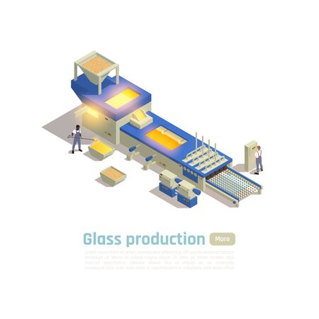Modern glass container factory hot end production line isometric composition with  furnace batch processing system vector illustration Imagens - 143875361