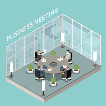 Company business office meeting room interior isometric composition with round boardroom table discussion glass walls vector illustration
