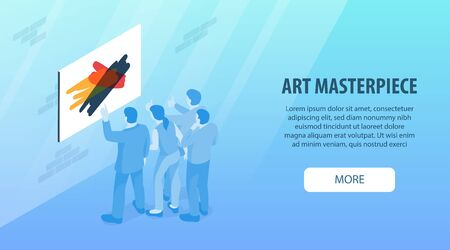Isometric exhibition gallery horizontal banner with clickable more button editable text painting and group of people vector illustration 矢量图像