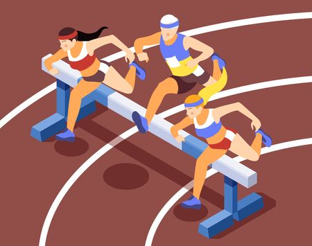Sport track race competition isometric background compositions with sprinting athletes running hurdles jumping over obstacles vector illustration  Illustration