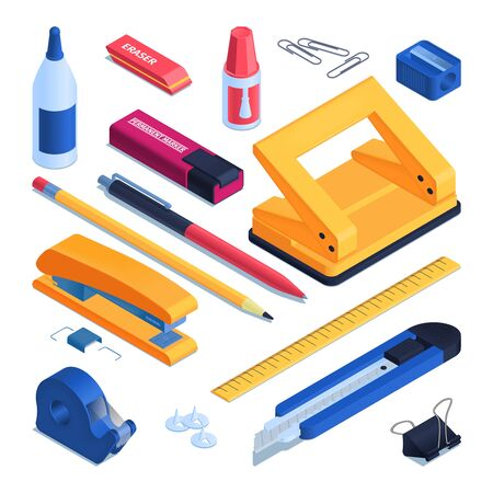 Office and school stationery set with pen and pencil isometric isolated vector illustration Ilustracje wektorowe